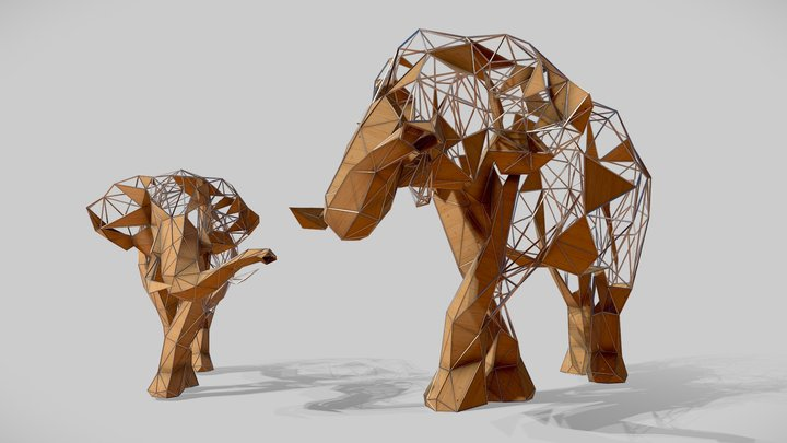 Abstract Elephant sculpture anmial statue 3D Model