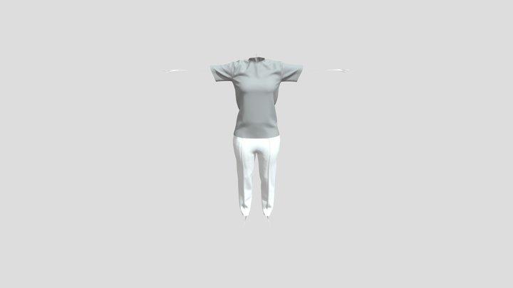 Spatial Fashion Female White Pant Gray Tshirt 3D Model