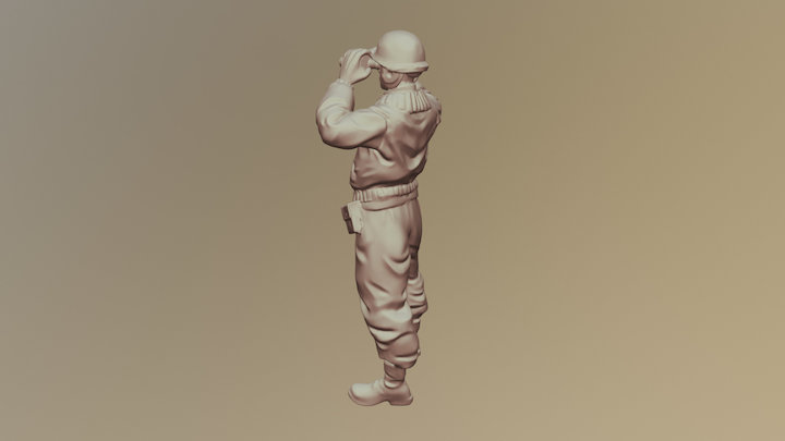 US_tank_officer_standing_goggles_A01 3D Model