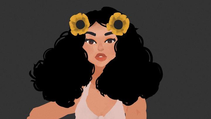 Sunflower girl 3D Model
