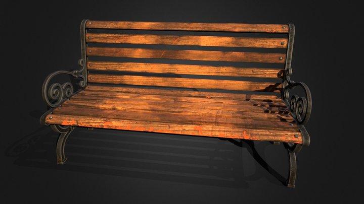 Bench Park 001a 3D Model