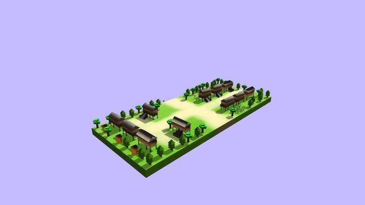 Village Low Poly 3D Model
