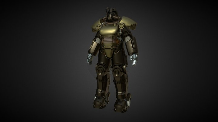 Power Armor T51 with Frame from Fallout 3D Model