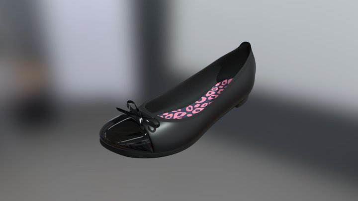 Ballet Flat - Patent Tip and Bow 3D Model