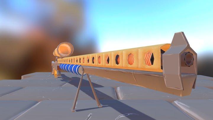 Gauss rifle steampunk style 3D Model
