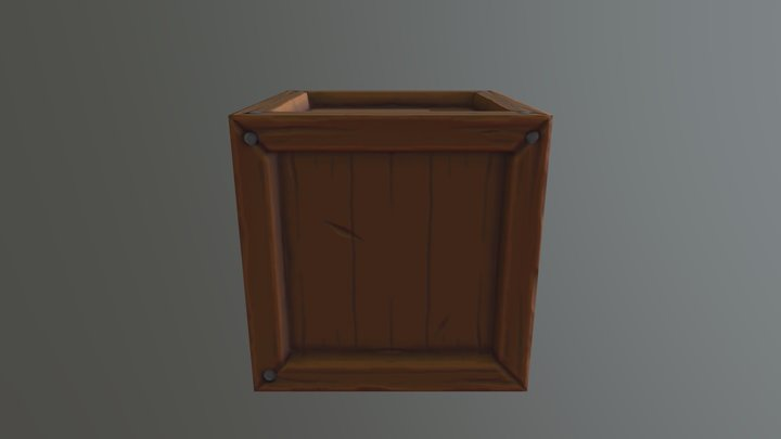 Stylized Wooden Crate 3D Model