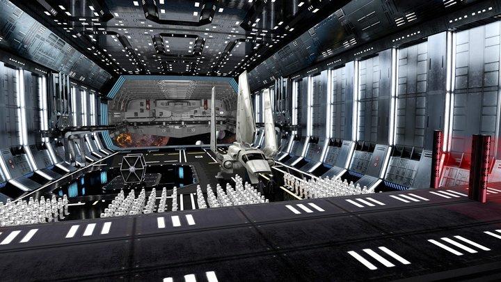 imperial star destroyer hangar (fake 3D test) 3D Model