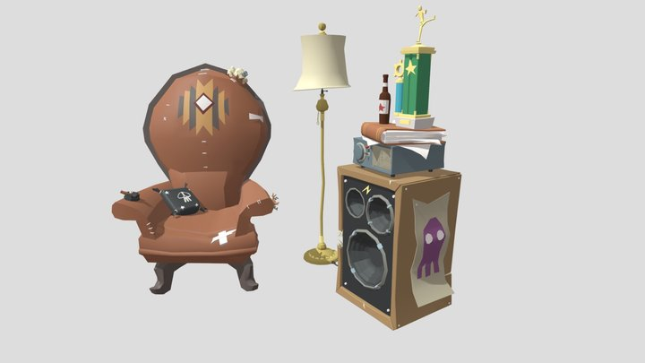 Lamp, armchair and Music Box 3D Model
