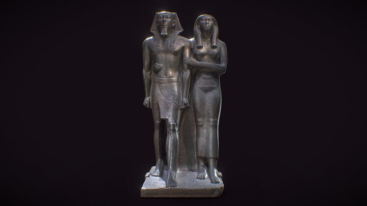 King Menkaure (Mycerinus) and queen 3D Model