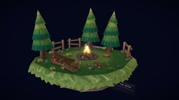 Warm by the campfire 3D Model