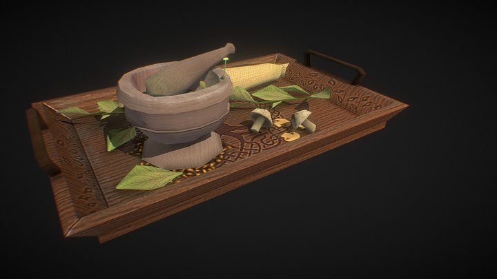 Health Pack: Mortar and Pestle Herb Crafting Set 3D Model