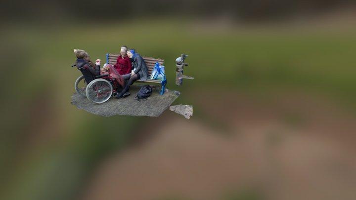 Auf der Bank vorm Krankenhaus 3D Model