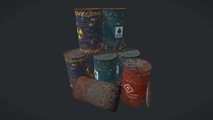 Industrial Drum Barrels 3D Model