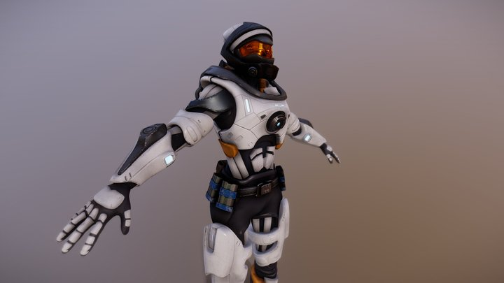 Sci-fi female soldier with armour 3D Model