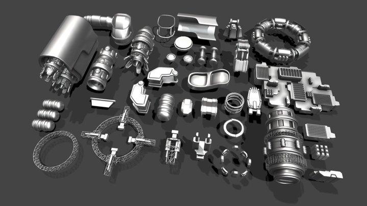 Spaceship parts asset pack 3D Model