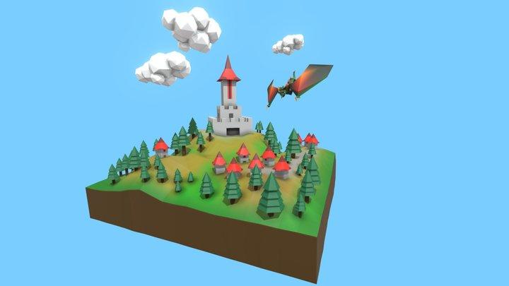 Low Poly Fantasy Diorama 3D Model