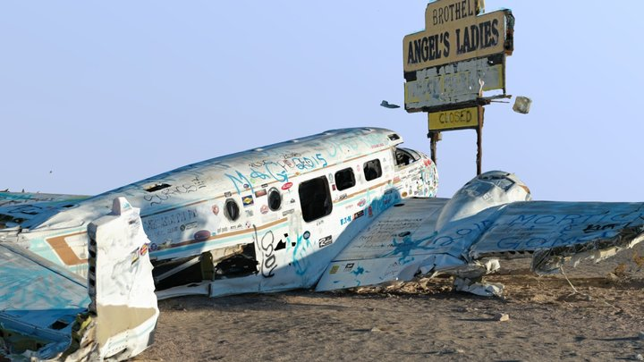 Plane Crash by a Brothel in Nevada 3D Model