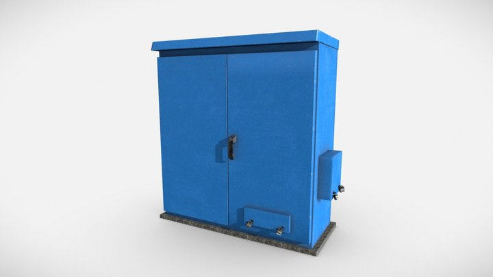 Blue Electrical Box 3D Model