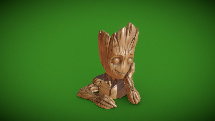 "Baby Groot flower pot: ""Gardens"" of the Galaxy 2 3D Model"