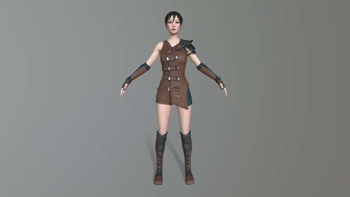 Female Armor Leather Complete 3D Model