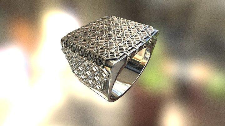 Men's ring family - arabic pattern - no word 3D Model