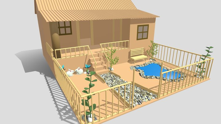 Cardboard house in some formats 3D Model