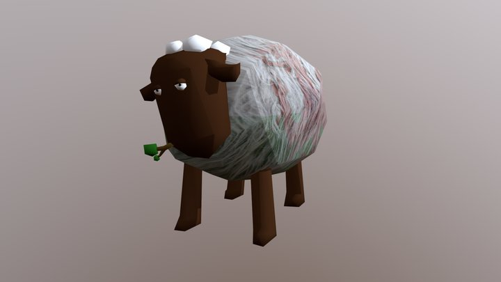 Low-Poly Sheep Rig with Animated Chew & Tail Wag 3D Model