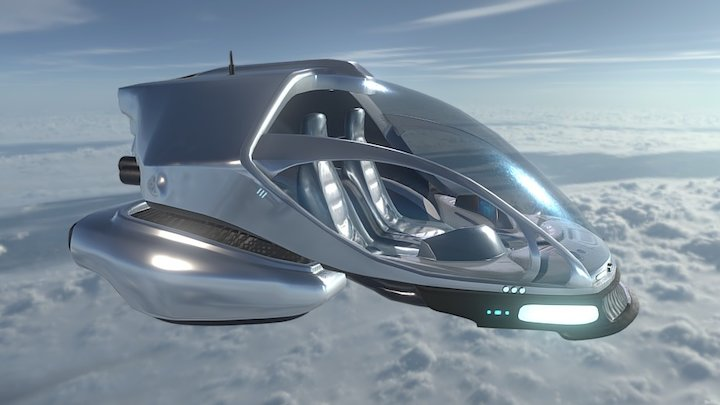 Futuristic Flying Car 3D Model