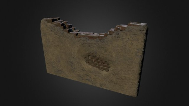 Damaged Wall Low 3D Model