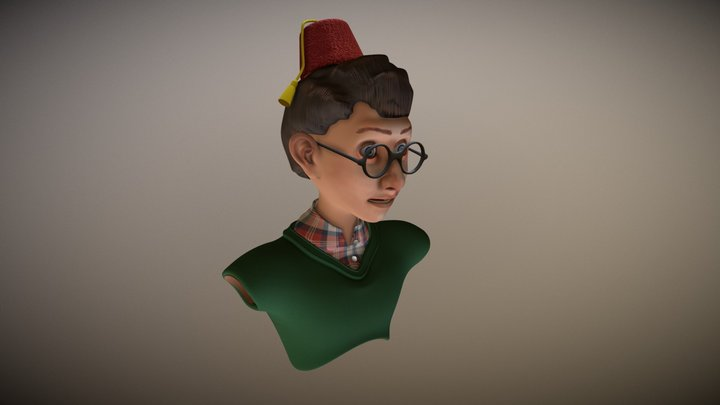A boy with a Fez 3D Model