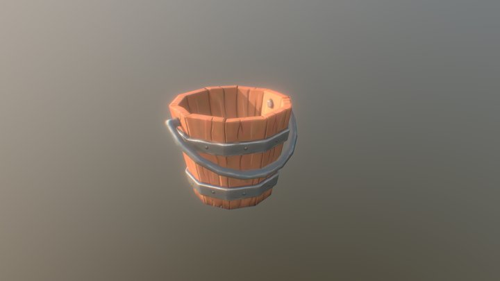 Handpainted Stylized Bucket 3D Model