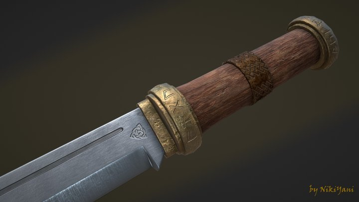 "Medieval scramasax ""Fenrir's Fang"" 3D Model"