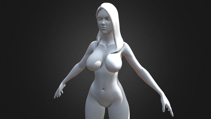 Stylized Female Large Breasts Highpoly version 3D Model