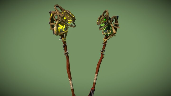 Druid Staves with stone - WoW weapon 3D Model