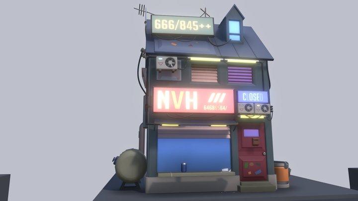 HW 4 Cyberpunk Sci-fi Building 3D Model