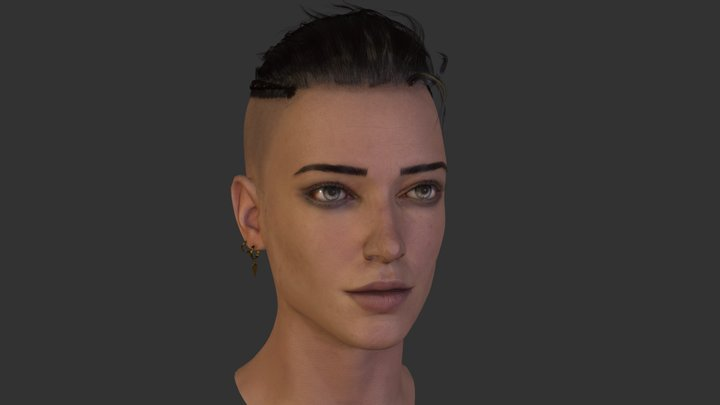 Kwyn the Witcher Portrait 3D Model