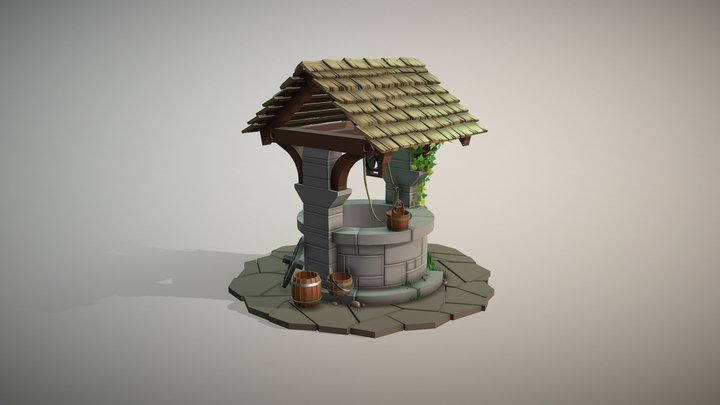 Stone well with barrels 3D Model