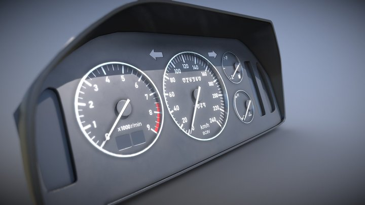 Car dashboard (Low poly) 3D Model