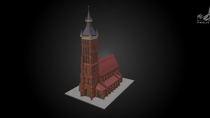 Reconstruction of gothic Collegiate church 3D Model