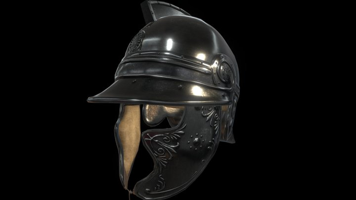 Athenian Helmet #1 ( Ornemented ) 3D Model