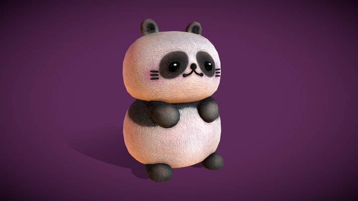 Cute Chubby Panda 3D Model
