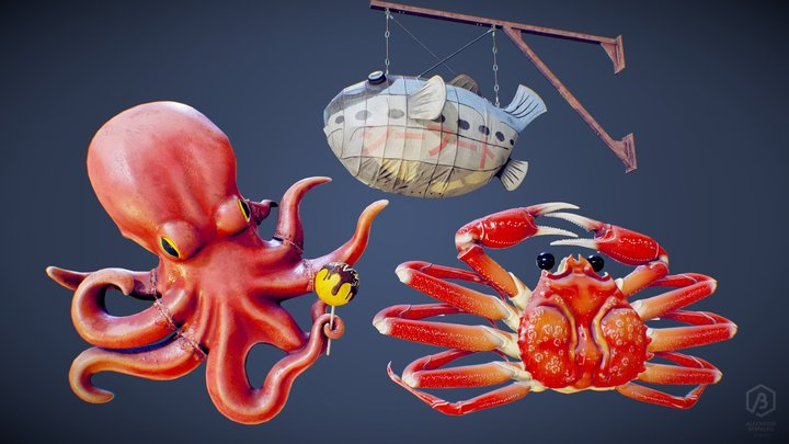 Game Ready Japanese Sea Creatures Signs Pack 3D Model