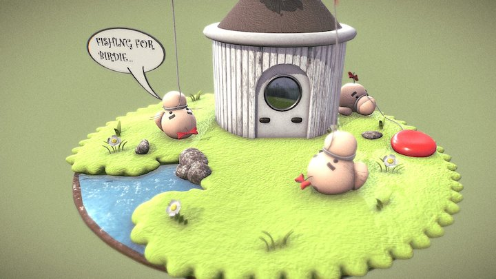 Earthbound/Mother Mr Saturn - Fishing for birdie 3D Model