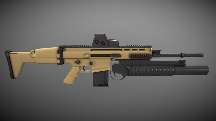 FN SCAR ASSAULT MOD (EOTech Sight & M209) 3D Model