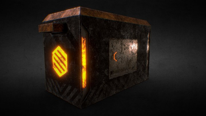 (FREE!) Futuristic Crate, Low Poly (GAMEREADY) 3D Model