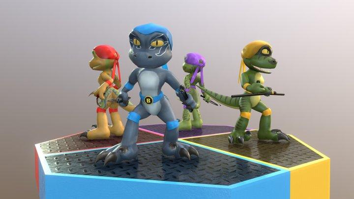 Teenage Jurassic Squad Raptors 3D Model