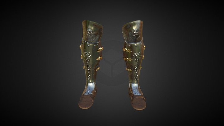 Fantasy Armor Greaves WIP 3D Model