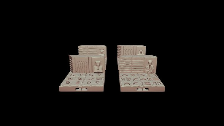 4 Statue Wall Display - Half Sized Egyptian 3D Model