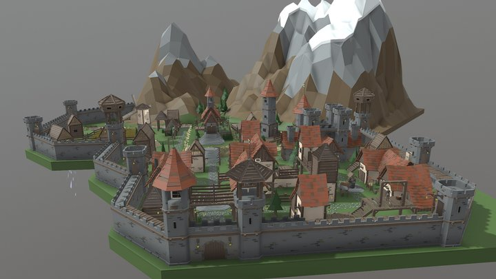 Low Poly human town 3D Model