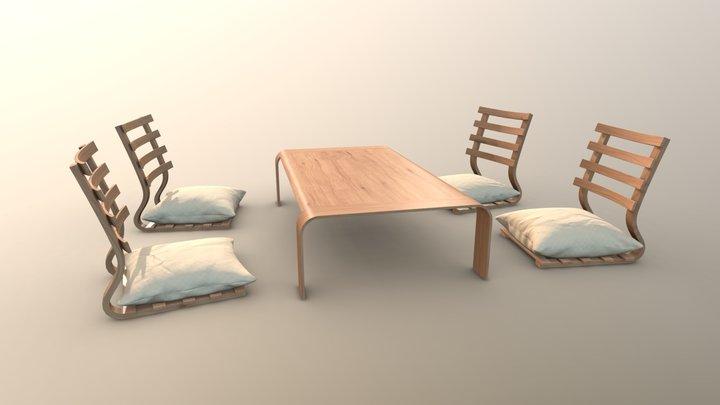 Japanese table set 3D Model